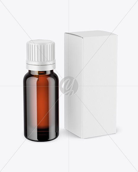 Amber Dropper Bottle with Box Mockup
