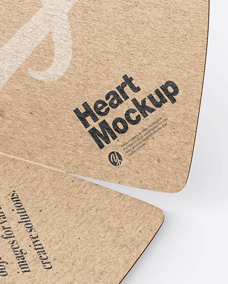 Kraft Two Heart Shaped Cards Mockup