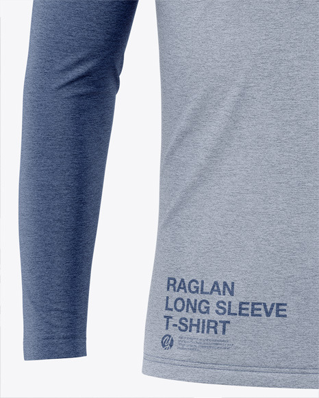 Men's Heather Raglan Long Sleeve T-Shirt Mockup - Front View