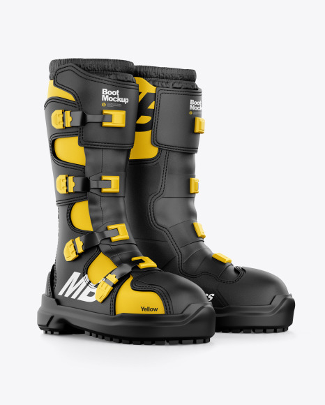 Download Rain Boots Mockup Half Side View Yellow Images