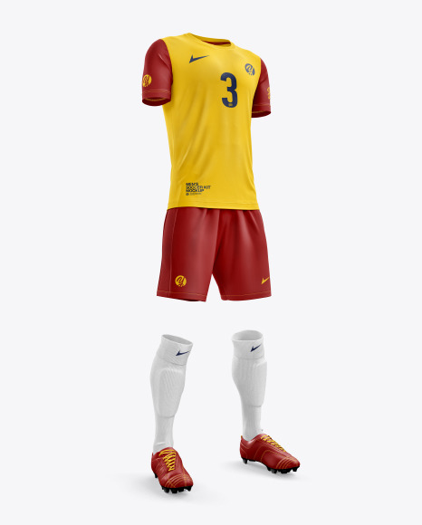 Men's Full Soccer Kit with Crew Neck Jersey mockup (Hero Shot)