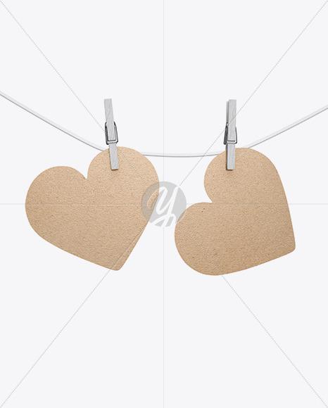 Kraft Heart Shaped Cards w/ Pins Mockup