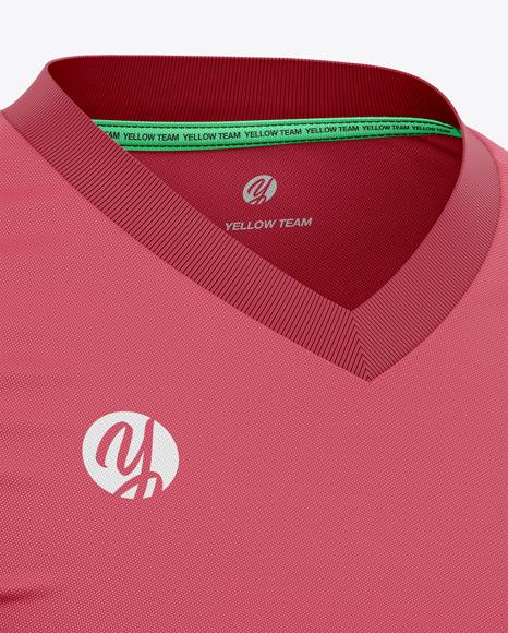 Men's V-Neck Soccer Jersey T-Shirt Mockup - Front View Half-Side View