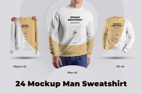 24 Mockup Men Sweatshirt Man 3d Objects Collection 3 In