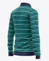 Men's Long Sleeve Polo Shirt - Back Half Side View