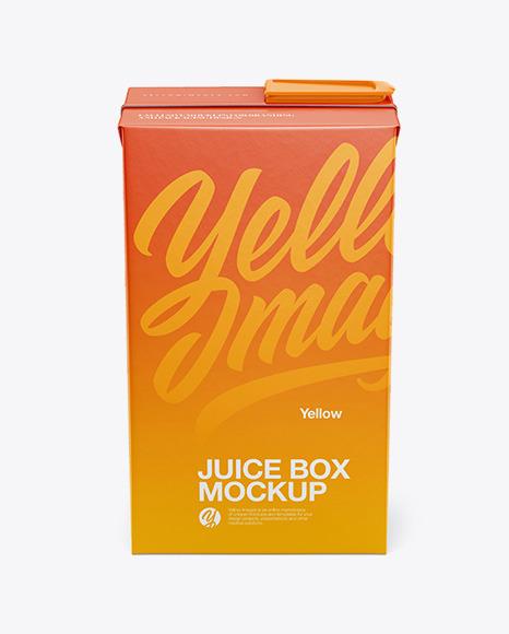 Juice Box Mockup - Front view (High Angle)