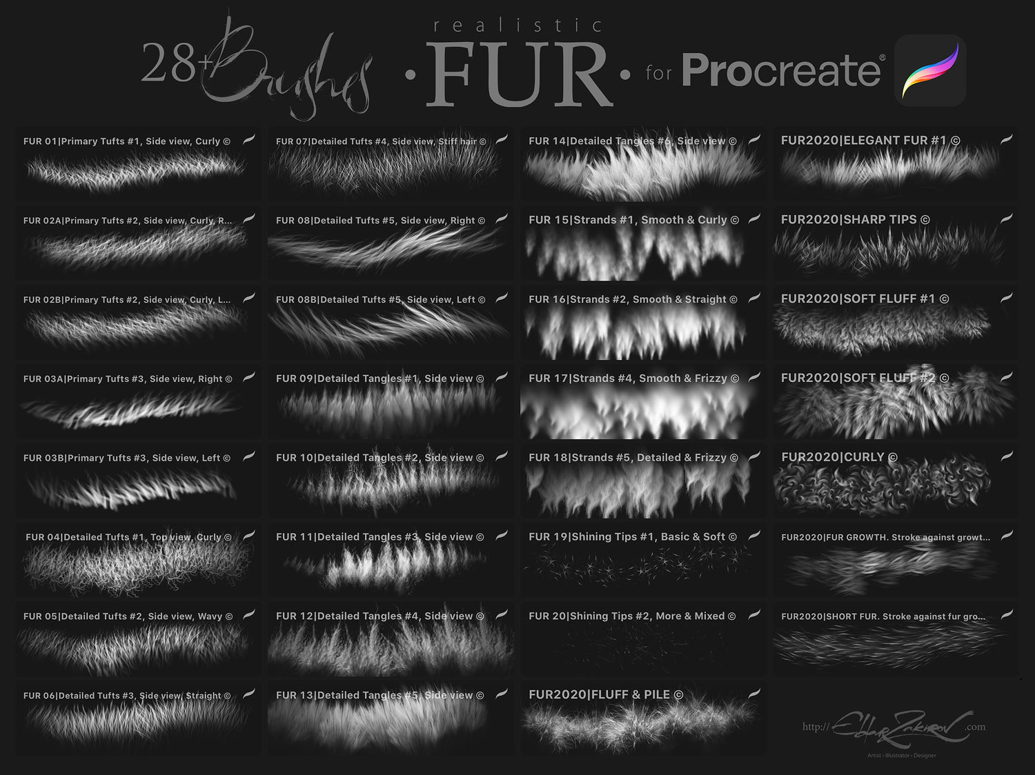 28 Realistic FUR Brushes for Procreate 5