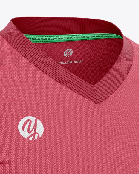 Men's Long Sleeve Soccer Jersey T-shirt Mockup - Front Half-Side View
