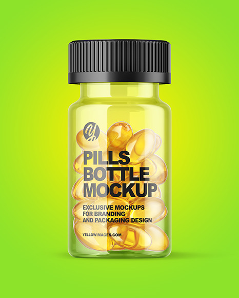 Download Clear Fish Oil Bottle Mockup In Jar Mockups On Yellow Images Object Mockups PSD Mockup Templates