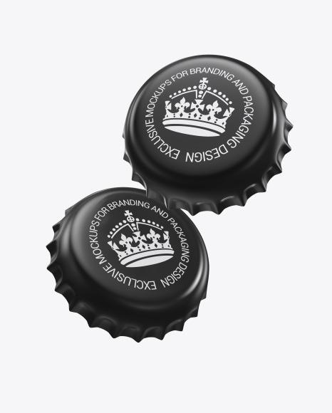 Glossy Bottle Caps Mockup