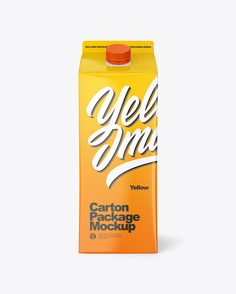 Glossy Juice Carton Package Mockup