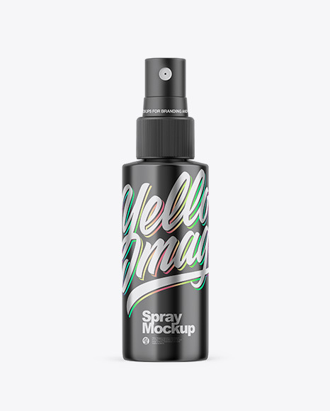Glossy Metallic Spray Bottle Mockup