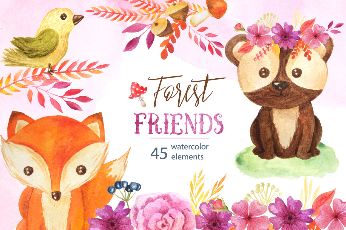 Watercolor Forest Animals Set