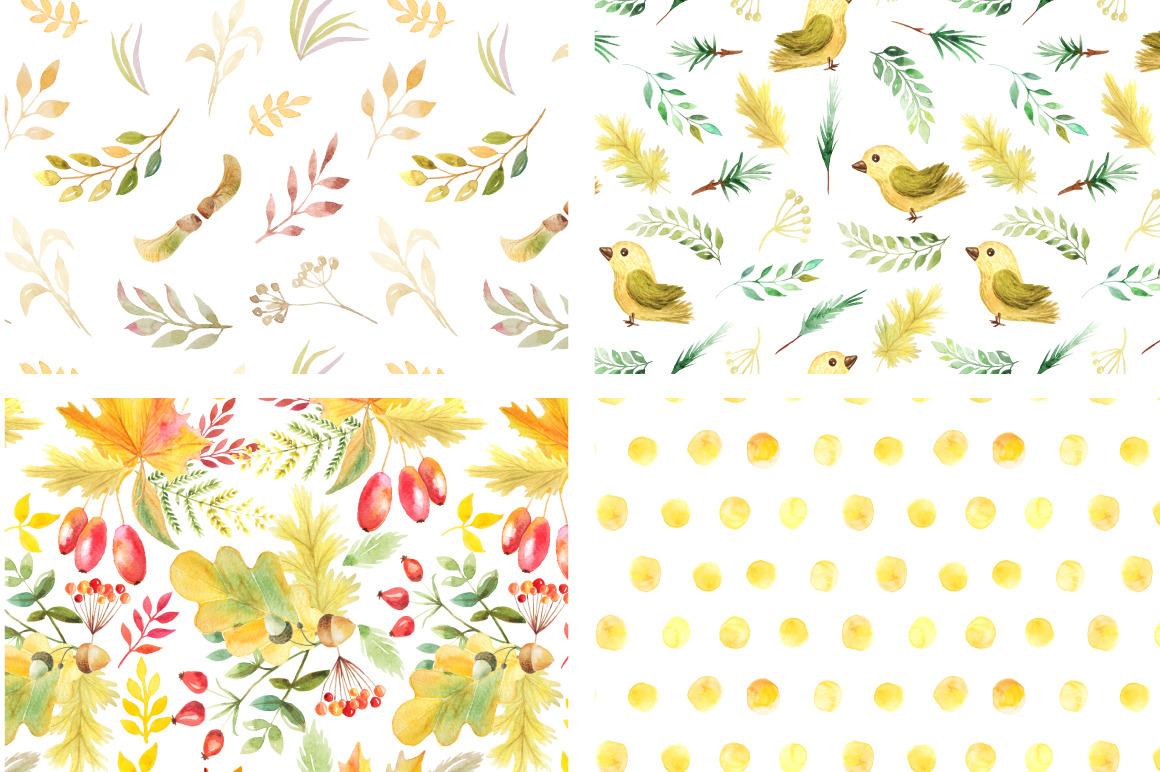 Watercolor Autumn Patterns Vol.2