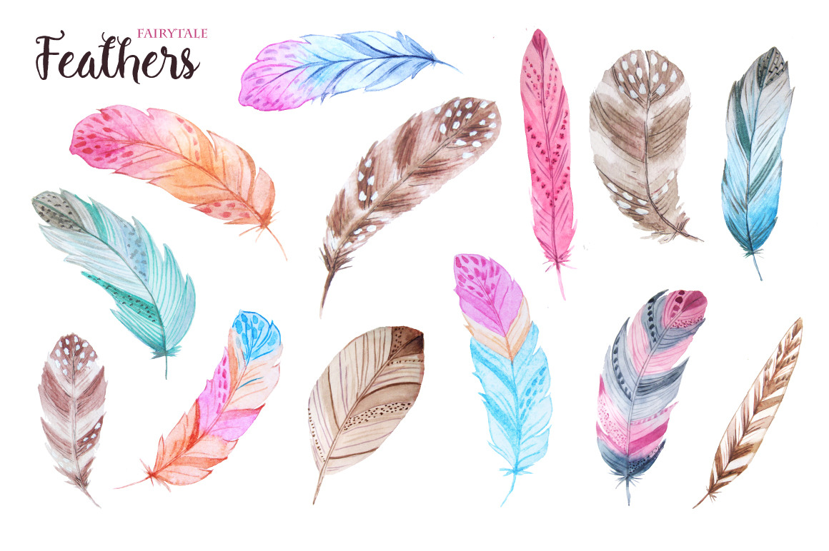Watercolor Fairytale Feathers Set