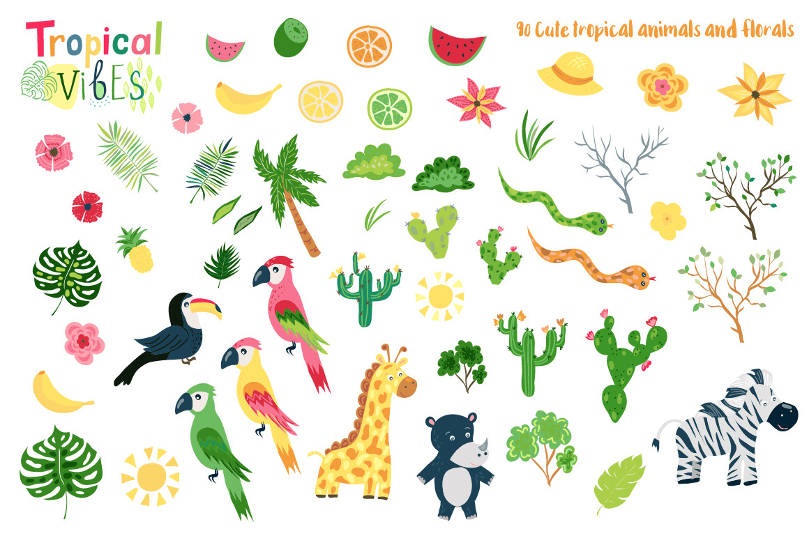 Summer Tropical Cute Vector Pack