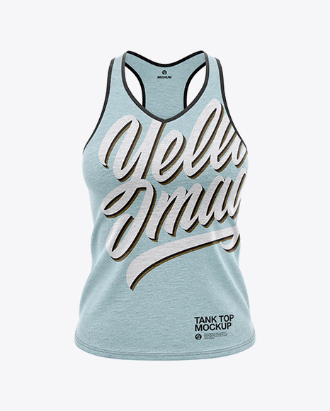 Women's Heather V-Neck Tank Top Mockup  - Front View