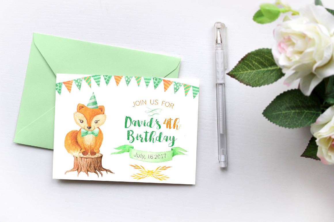 Watercolor Cute Foxes and Floral Set