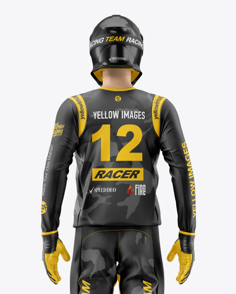 Motocross Racing Kit Mockup In Apparel Mockups On Yellow Images