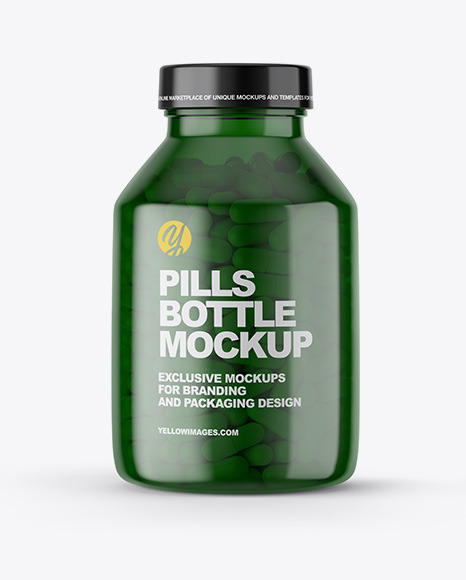 Download Green Pills Bottle Mockup In Bottle Mockups On Yellow Images Object Mockups PSD Mockup Templates
