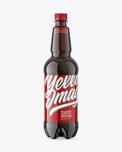 Amber Plastic Dark Beer Bottle Mockup