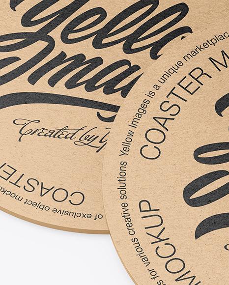 Kraft Beverage Coasters Mockup