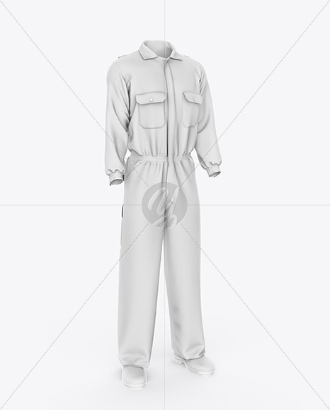 Worker Uniform Mockup - Front Half Side View