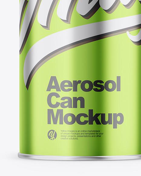 Glossy Metallic Aerosol Can Mockup