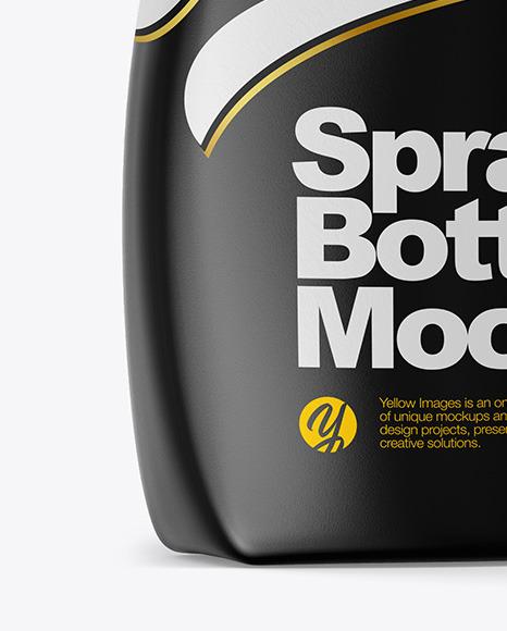 Glossy Spray Bottle Side View Mockup