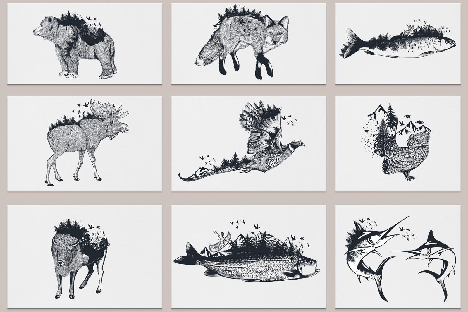 Bundle of artistic vector hand drawn animals