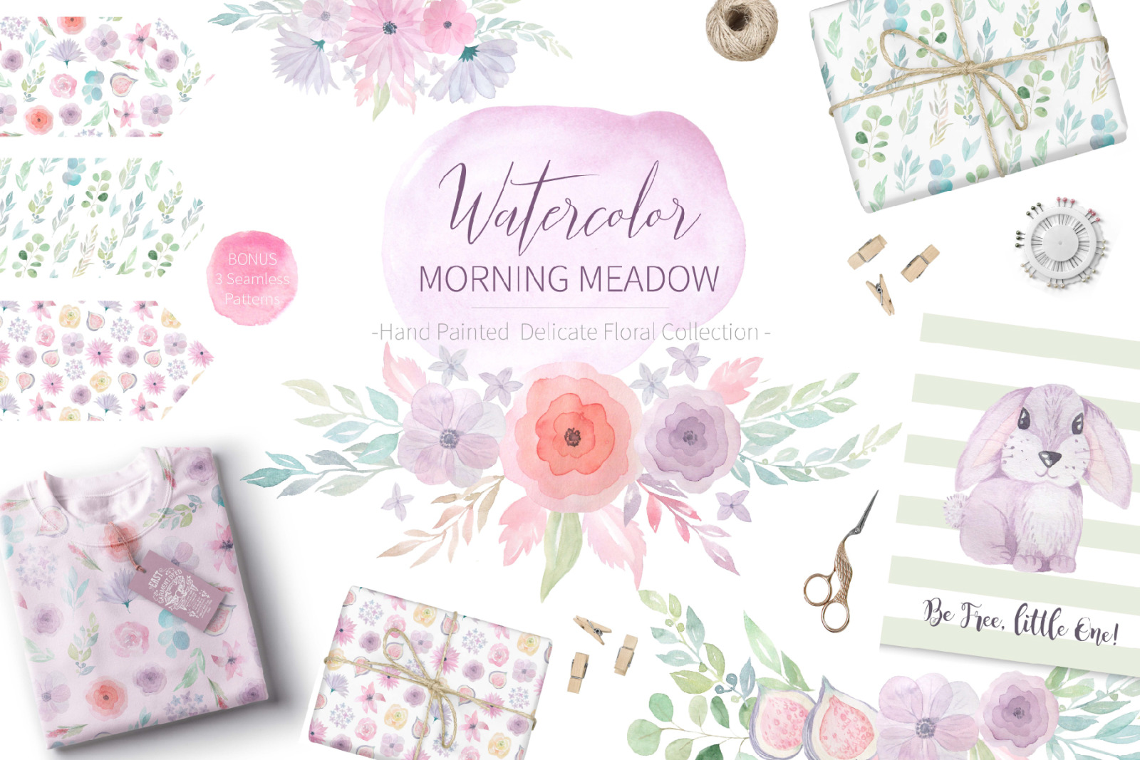 Watercolor Morning Meadow Floral Set