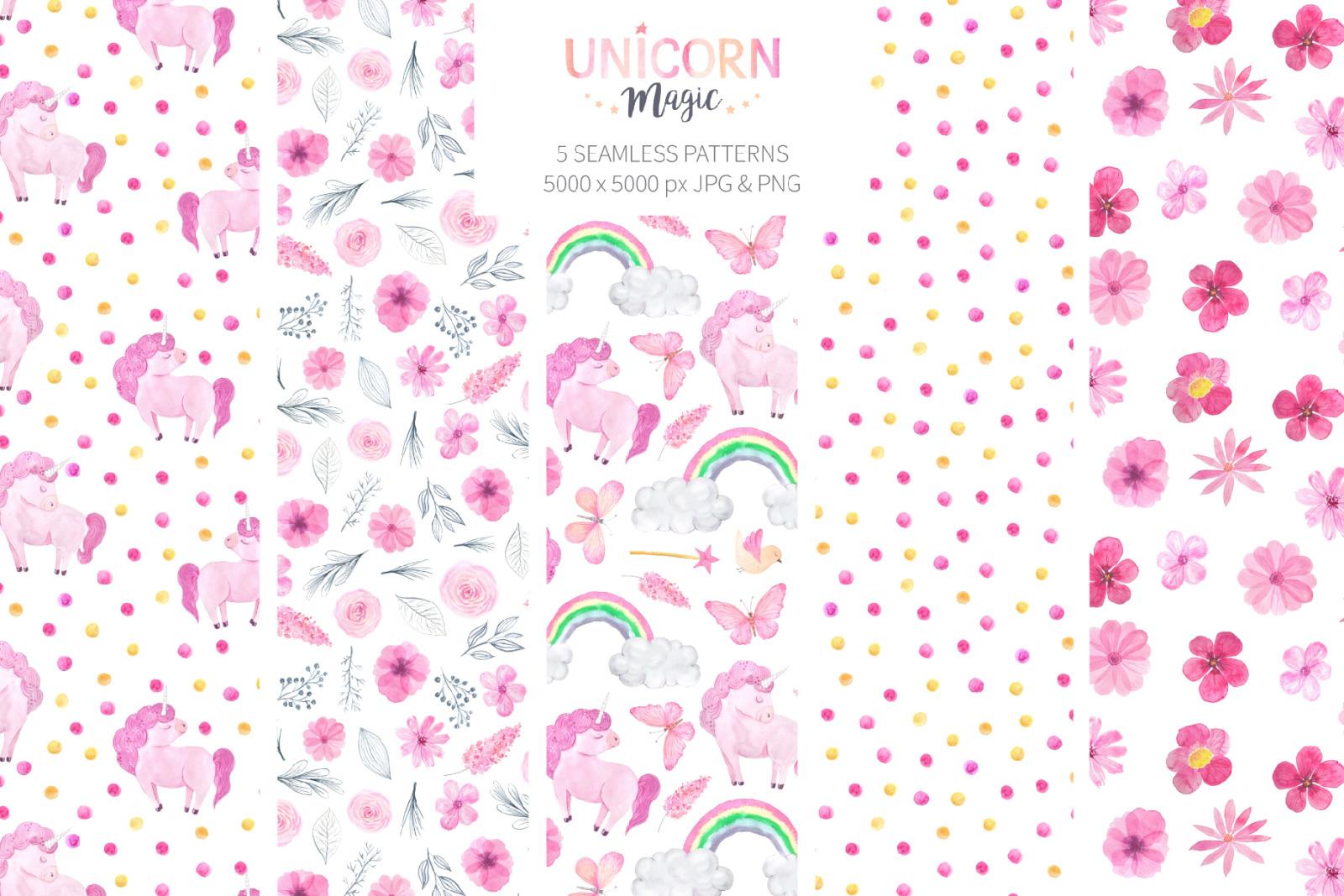 Watercolor Unicorn Design Set
