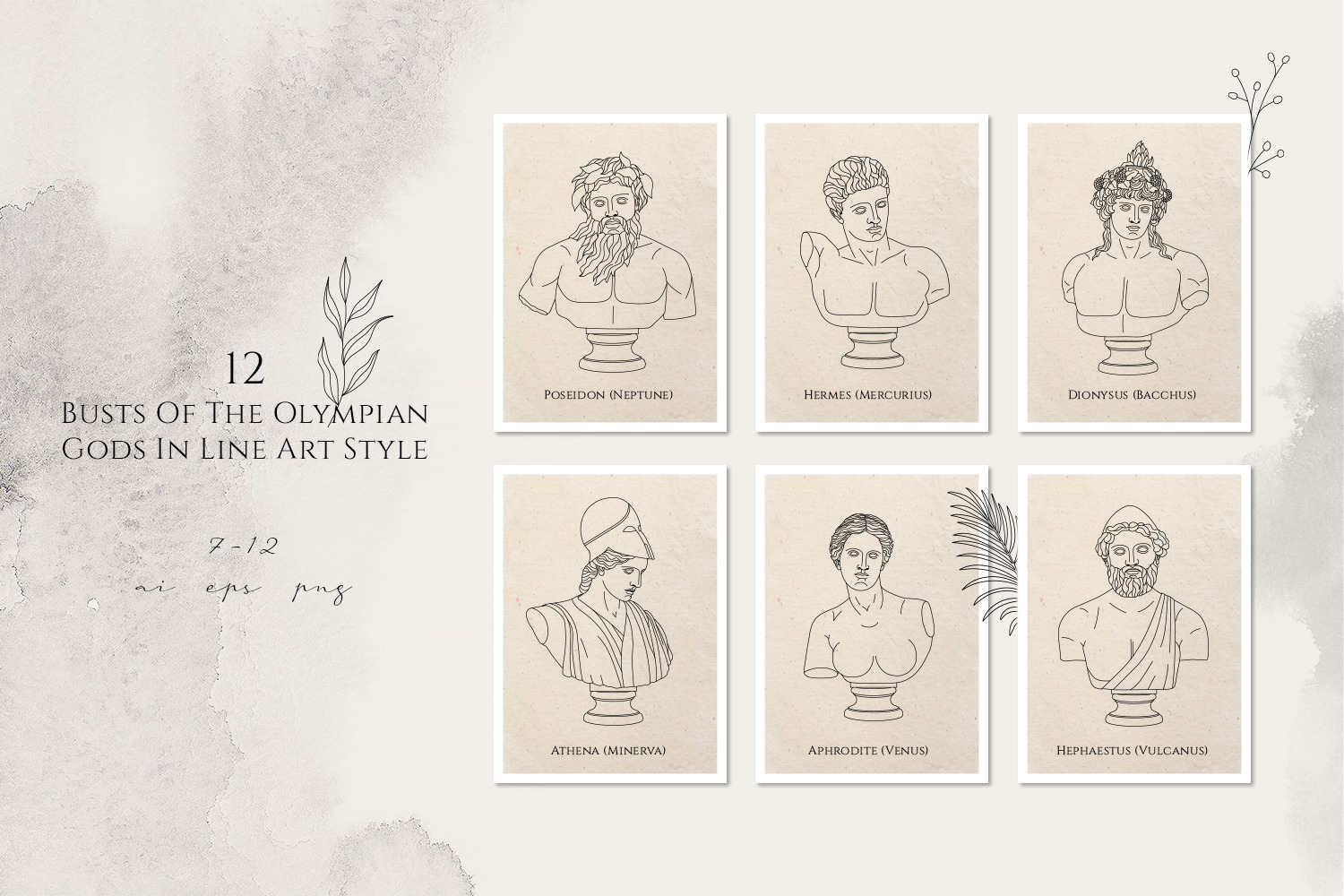 Oh My Gods! The Olympian Gods In Line Art Style