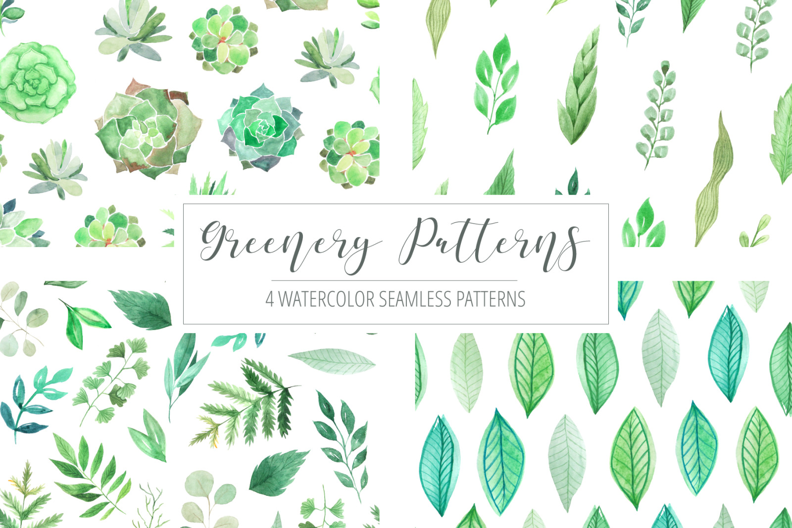 4 Watercolor Greenery Patterns