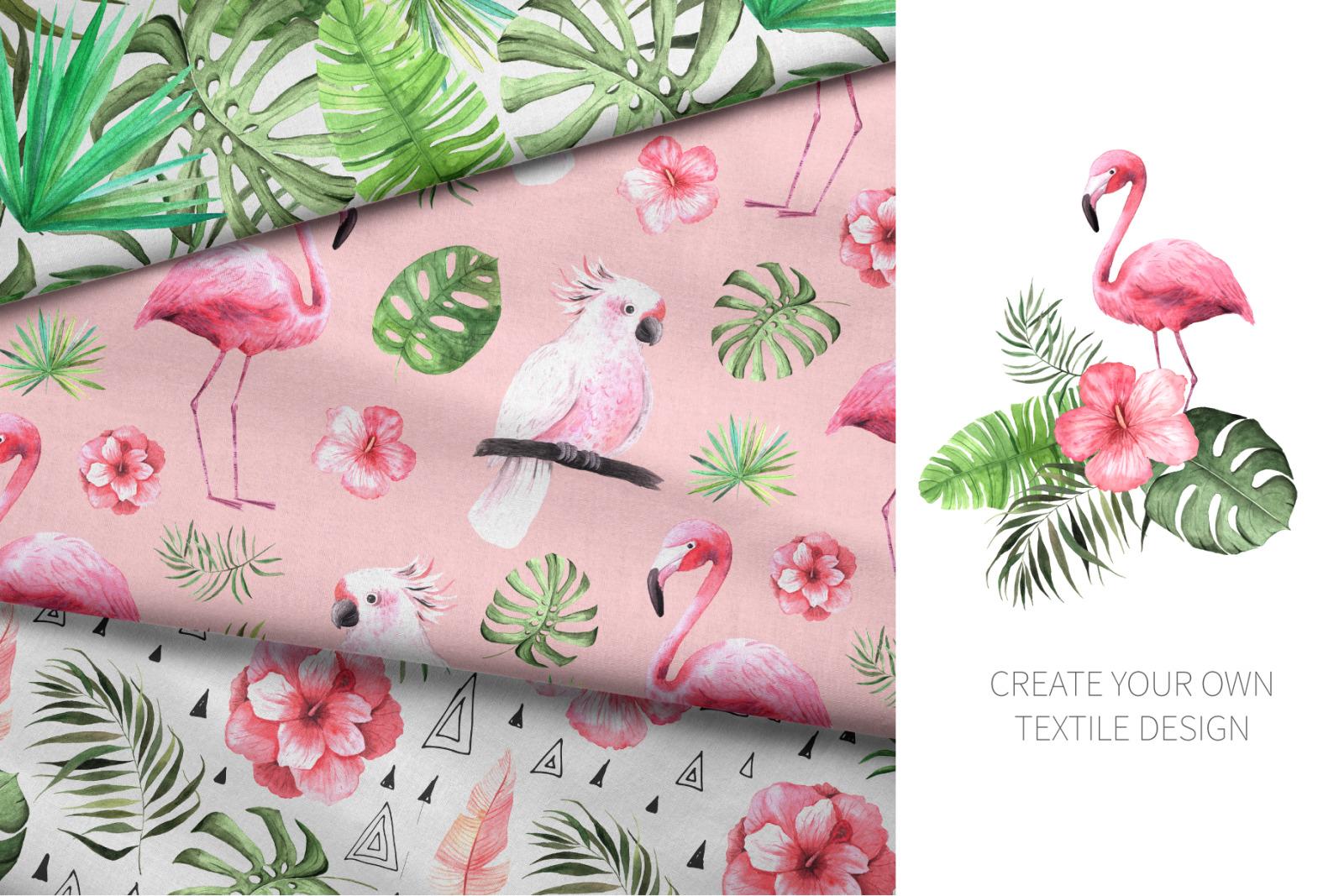 15 Watercolor Tropical Patterns Set