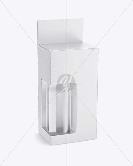 Box with Plastic Bottle Mockup