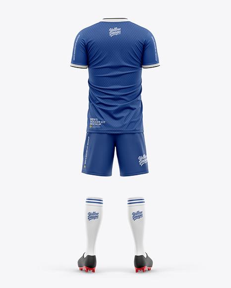 Men's Full Soccer Kit with Short Sleeve Jersey Mockup - Back VIew