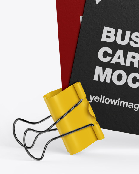 Two Paper Business Cards w/ Clip Mockup