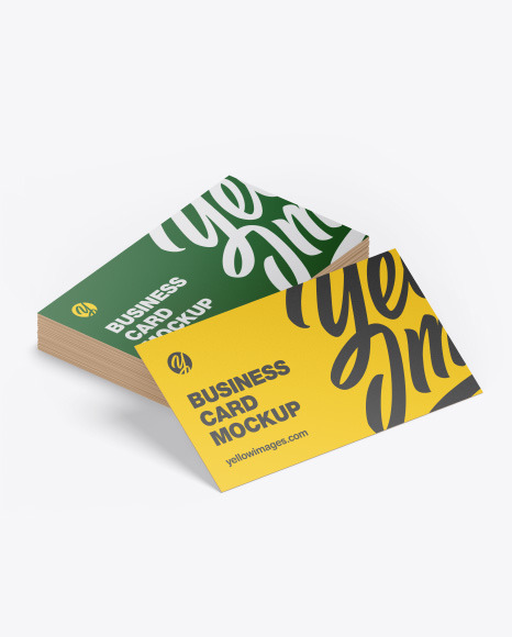 Download Stack Of Business Cards Mockup In Stationery Mockups On Yellow Images Object Mockups PSD Mockup Templates