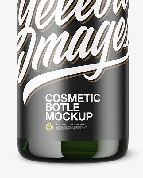 Green Cosmetic Bottle w/ Pump Mockup
