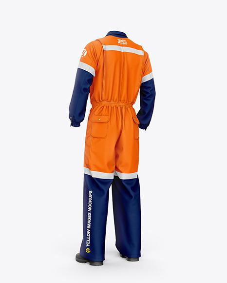 Worker Uniform Mockup – Back Half Side View