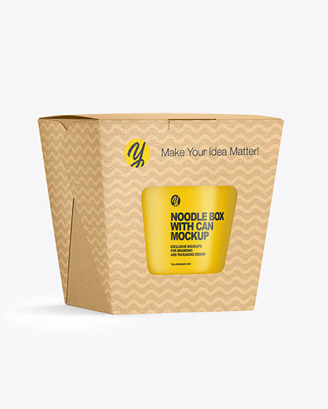 Download Kraft Noodle Box With Can Mockup In Box Mockups On Yellow Images Object Mockups