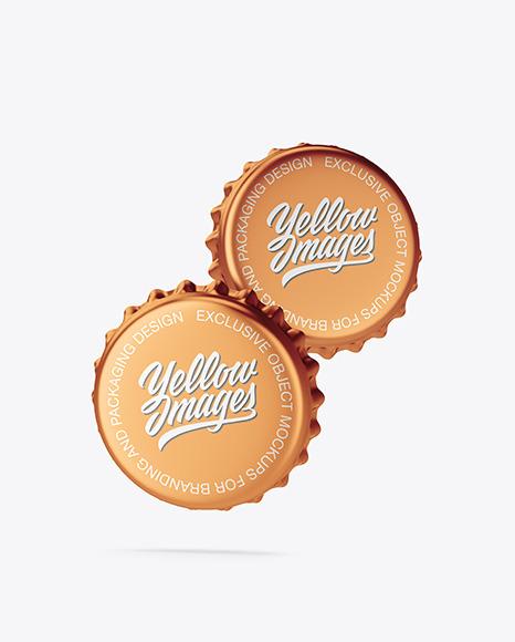 Metallic Bottle Caps Mockup