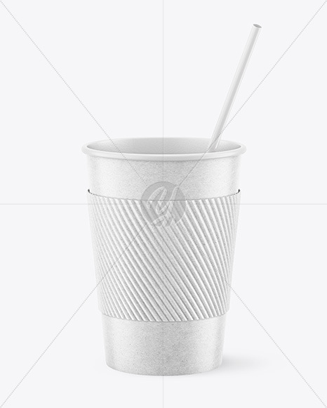 Kraft Coffee Cup with Straw Mockup