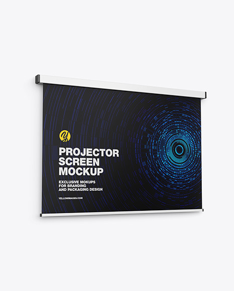 Projector Screen Mockup - Half Side View