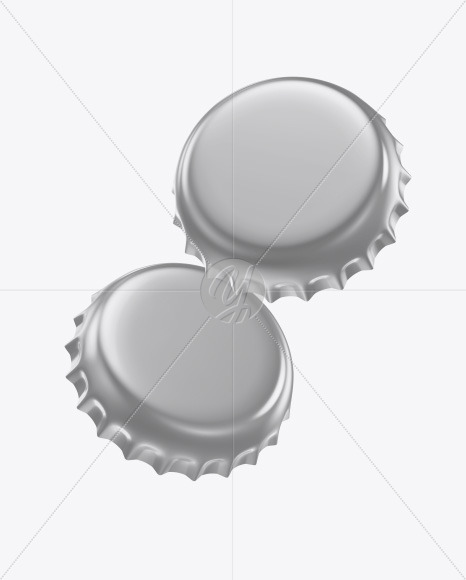 Glossy Metallic Bottle Caps Mockup