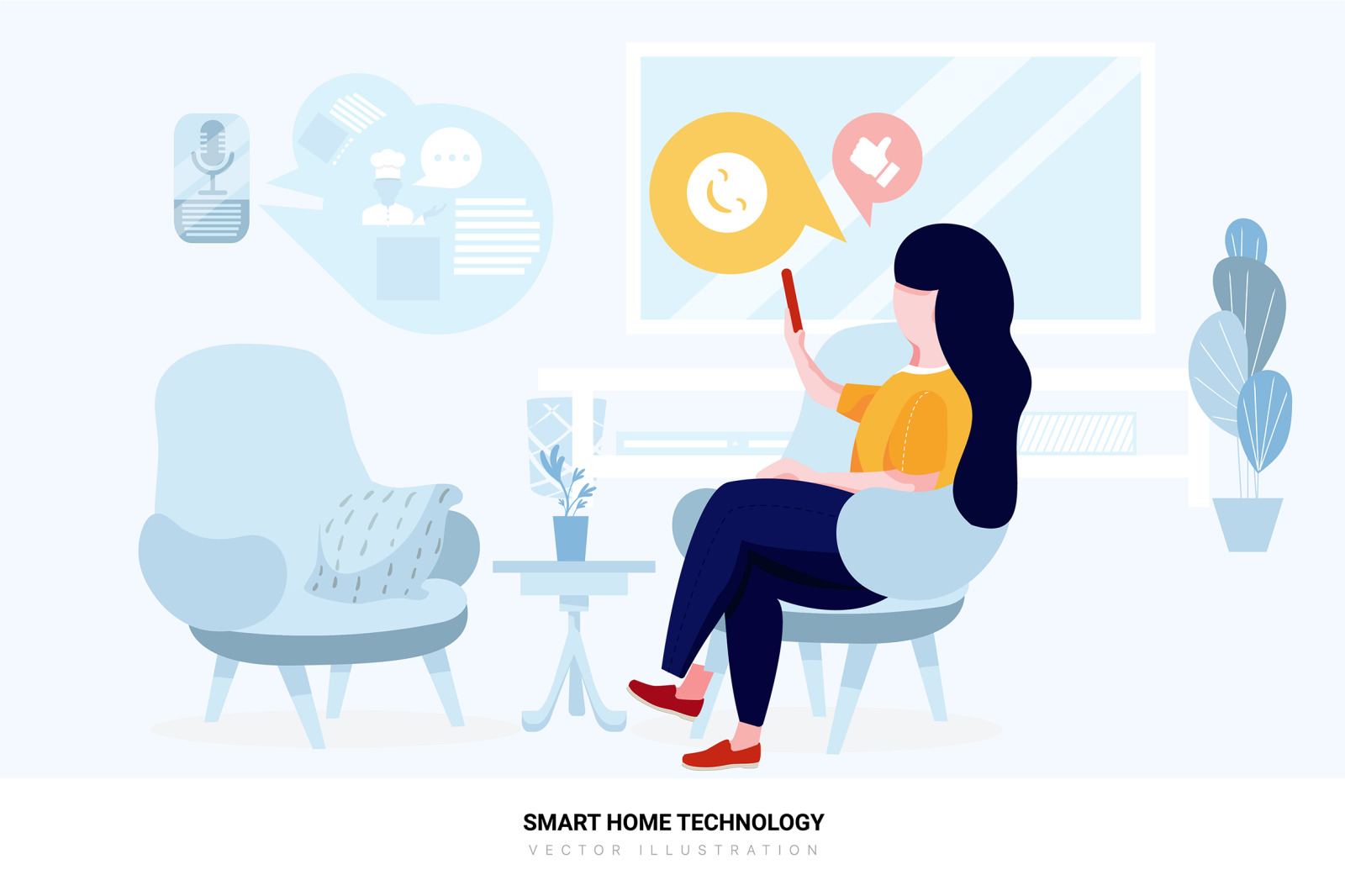 Smart Home Technology Vector Scenes