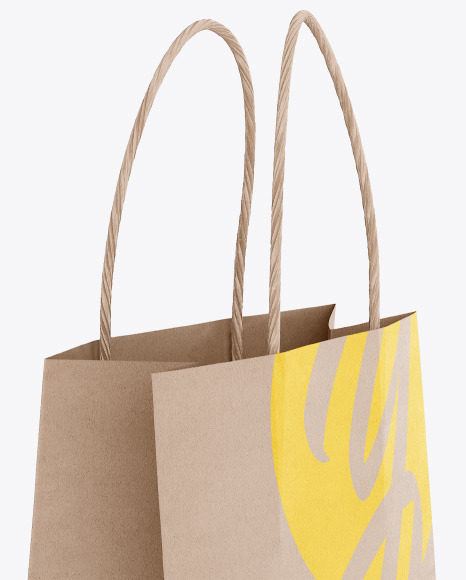 Kraft Paper Shopping Bag Mockup - Half Side View