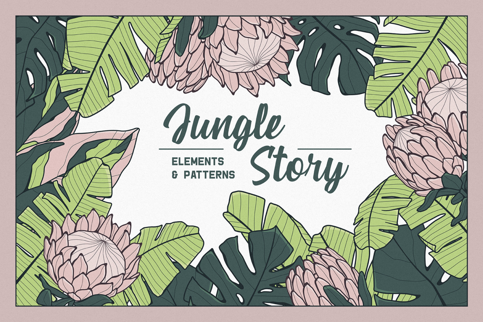 Jungle Story: tropical elements & patterns