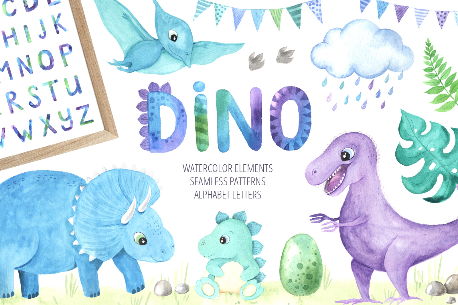 Watercolor Dinosaurs Collection